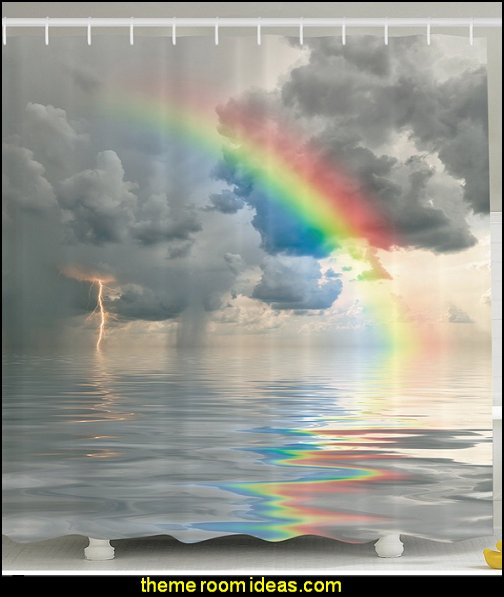 Clouds Rainbow Colors on a Rainy Day Ocean Stormy Seas Thunder