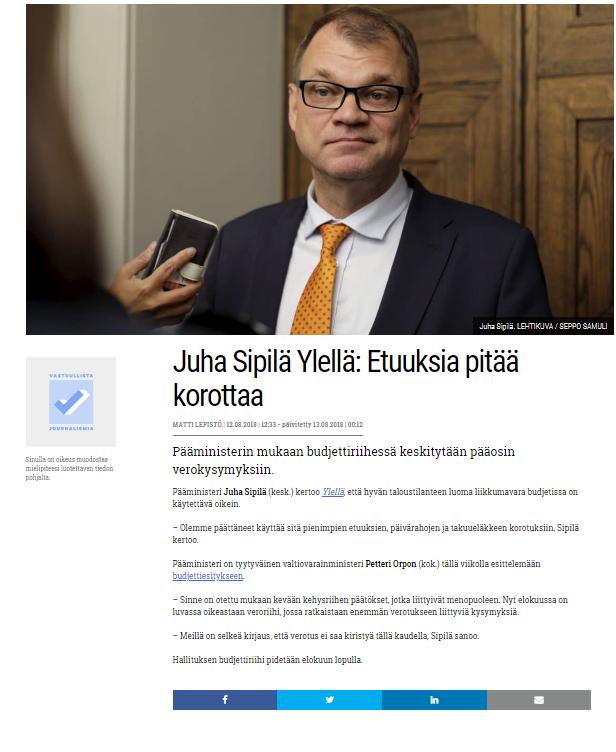 Havaintoja uudesta maailmanjärjestyksestä  Juha Sipilä päästi ... 0f1c1835ef
