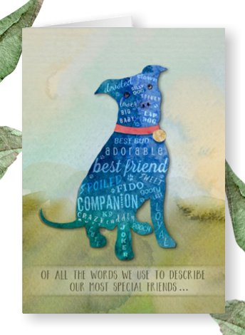 pitbull dog sympathy loss card