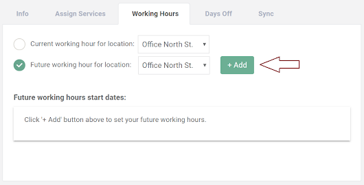 NEW! Setup future working hours for Staff