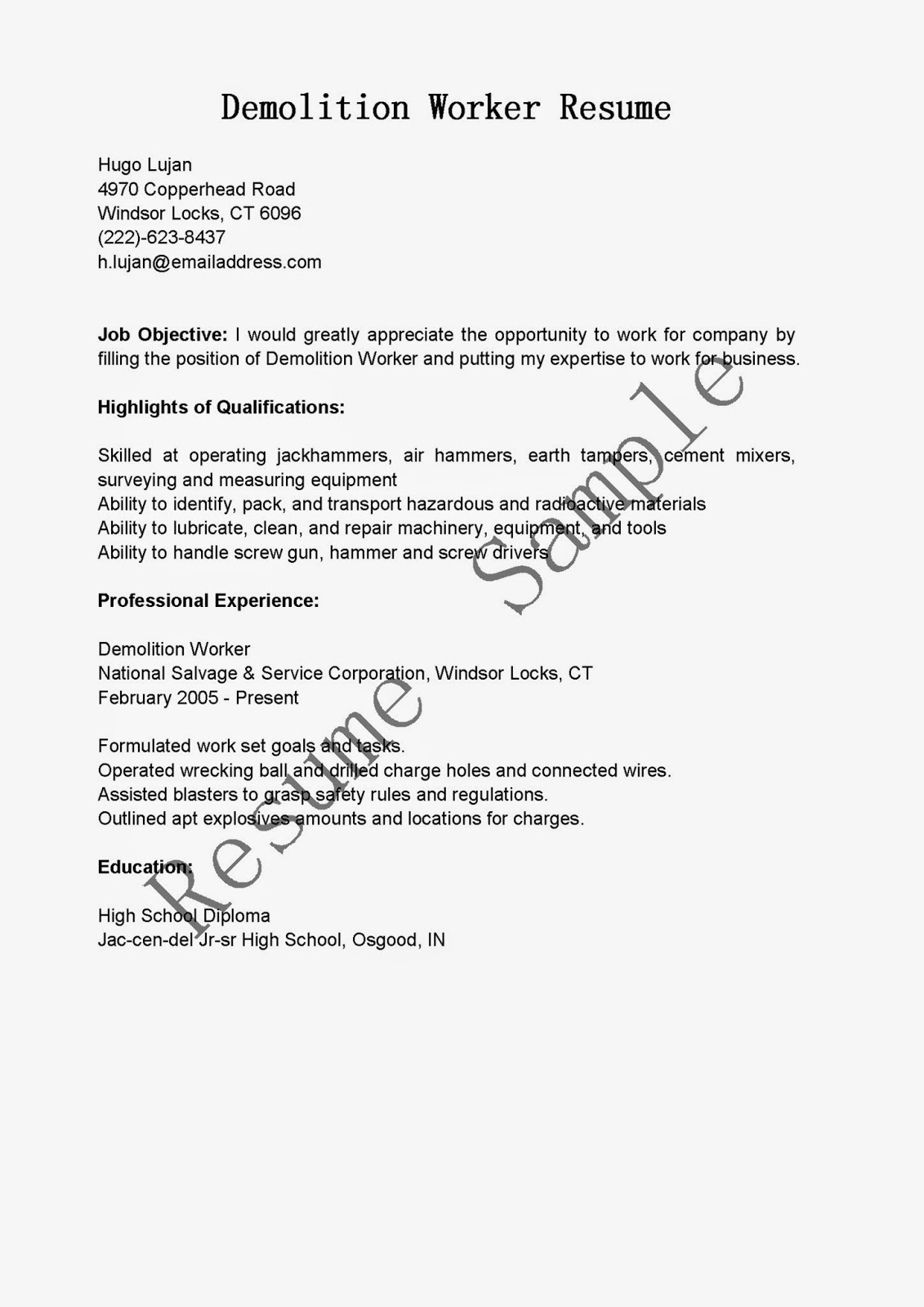 demolition laborer sample resume