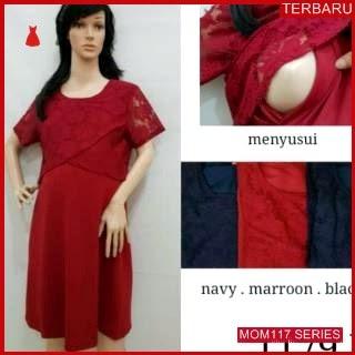 MOM117D13 Dress Hamil Menyusui Valentine Brokat Dresshamil Ibu Hamil