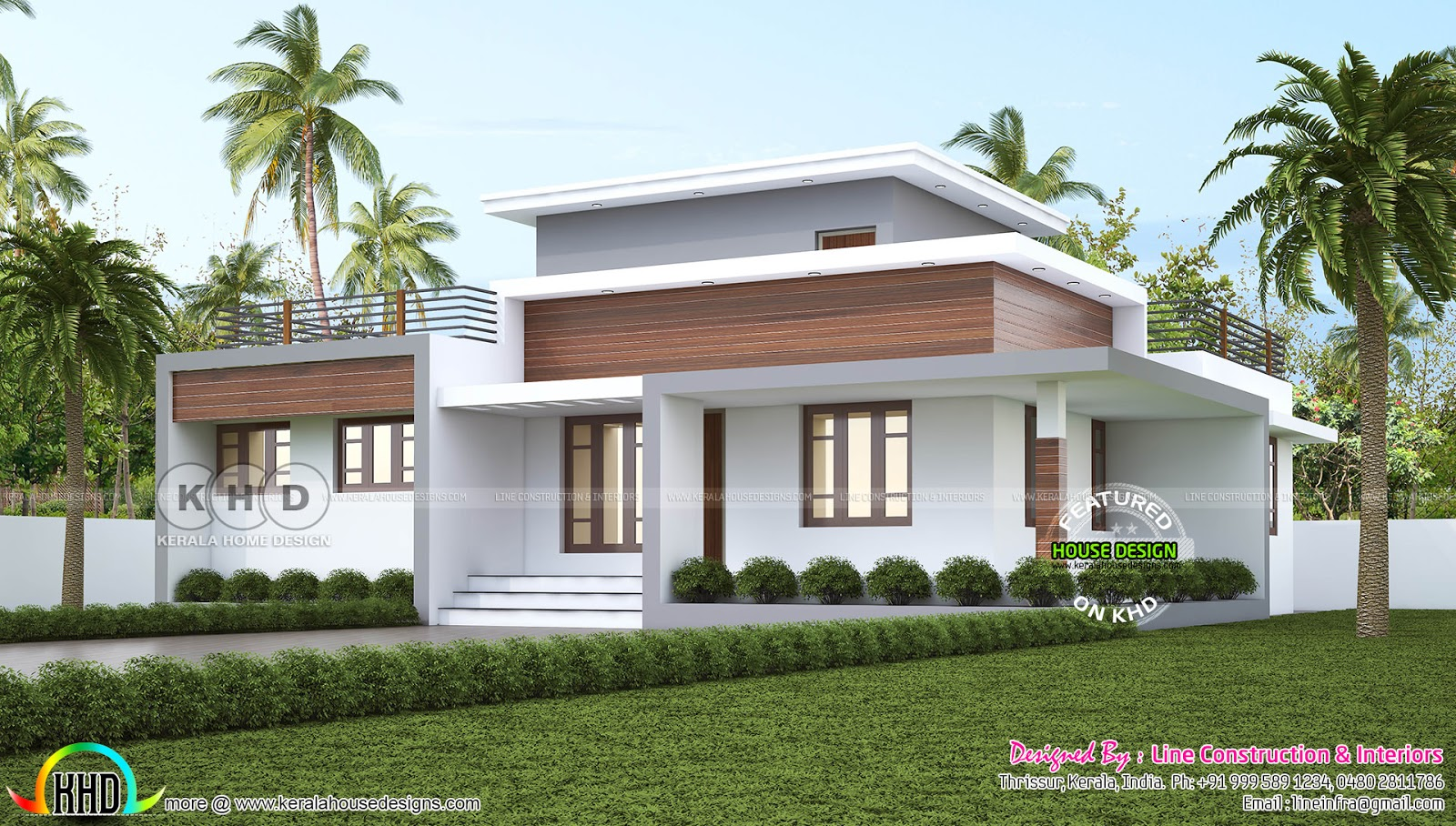 1300 Square Feet 3 Bedroom Flat Roof House Plan Single Floor Kerala Home Design Bloglovin
