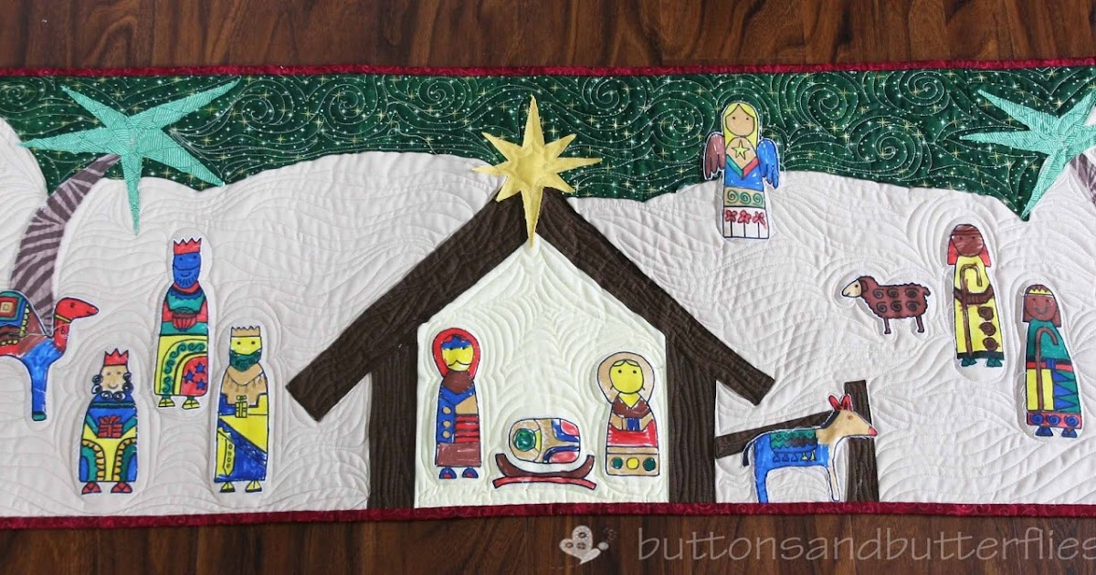 Buttons And Butterflies Nativity Wall Hanging Quilt