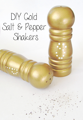 Add a little Glam to your dining table {DIY Gold Salt & Pepper Shakers} | It's Always Ruetten