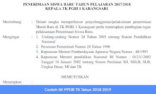 Contoh SK PPDB TK