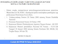 Contoh SK PPDB TK Tahun 2018 2019