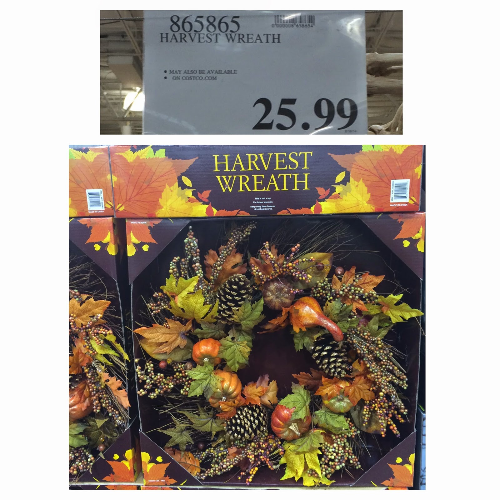 9edc7bf4364343 ... the changing of the seasons. Hang it on your front door now and enjoy  it through Thanksgiving. The Harvest Wreath is currently sold out on Costco .com.