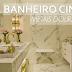 Banheiro cinza com metais dourados maravilhoso! Confira todos os detalhes!