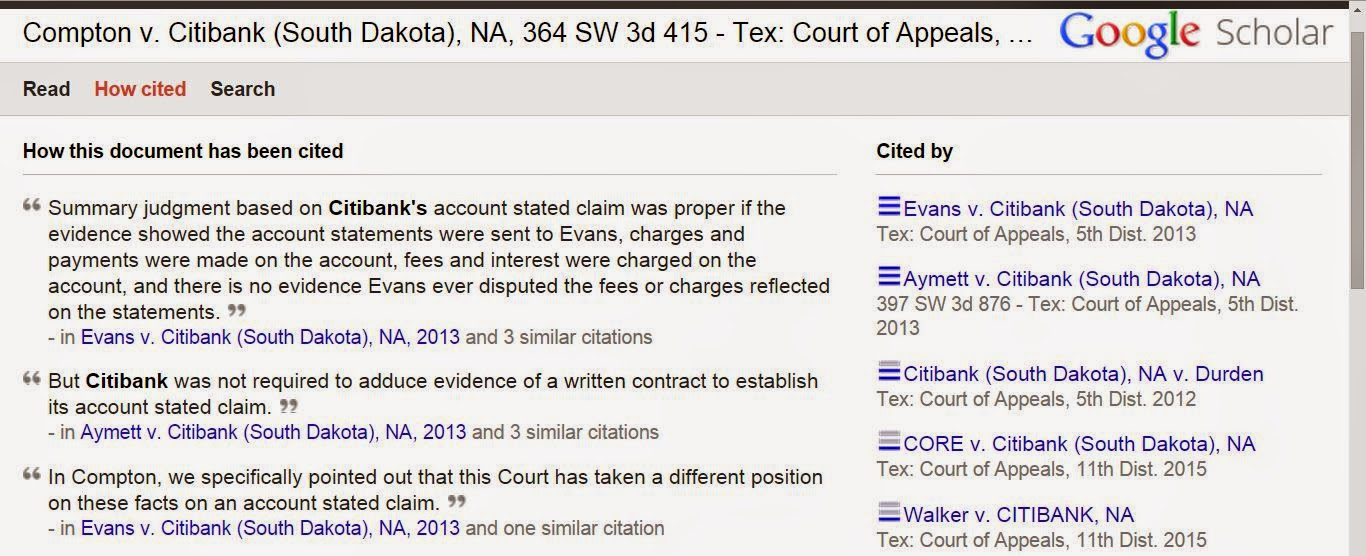 Dulong v Citibank and Compton v Citibank (South Dakota) N.A. Progeny - Proof of Contract not Required