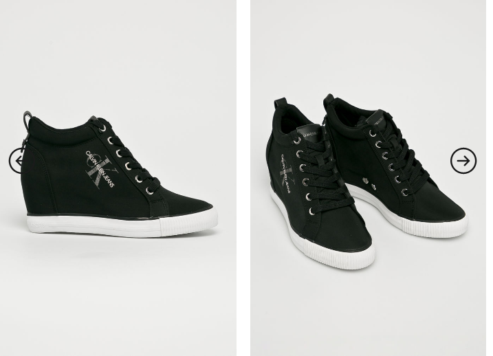 Calvin Klein Jeans platforme originale negre cu talpa alba si logo