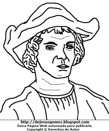 Dibujo de Cristobal Colón para colorear, pintar e imprimir. Dibujo de Cristobal Colón de Jesus Gómez