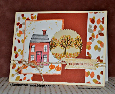 Stampin' Up! fall card created by Trude Thoman with the Holiday Home stamp set http://stampwithtrude.blogspot.com