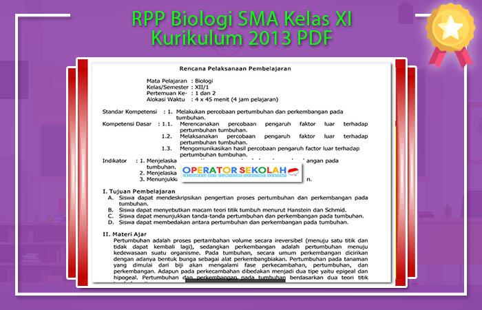 RPP Biologi SMA Kelas XI Kurikulum 2013 PDF