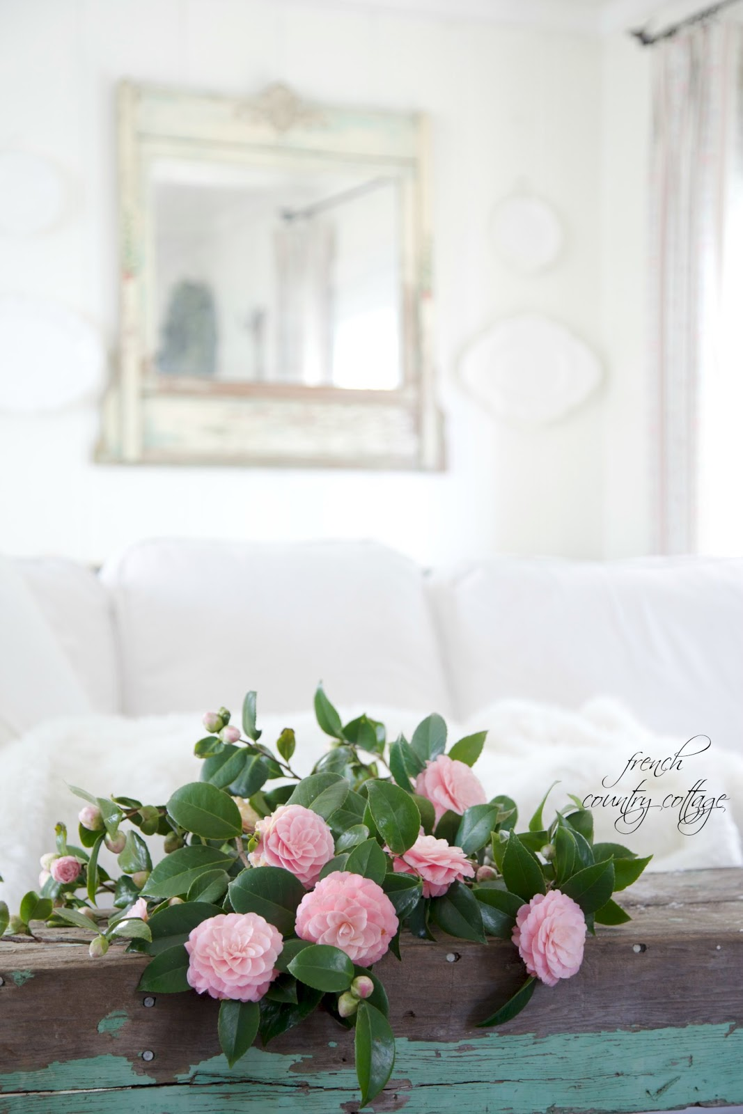 camellia blooms, Spring, bouquet, French Cottage