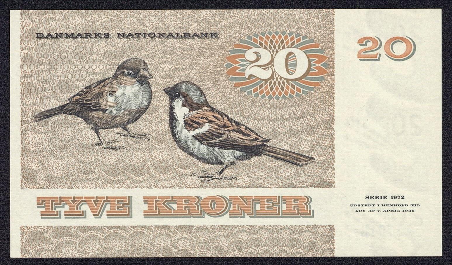 20 Danish Kroner note 1972 sparrows