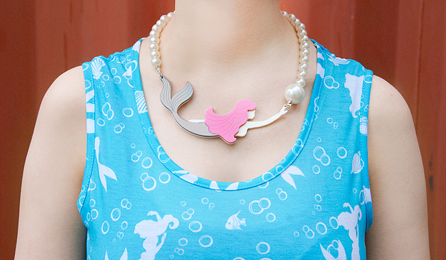 mermaid dress, mermaid necklace, disney