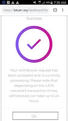 cara withdraw LATX ke IM Token