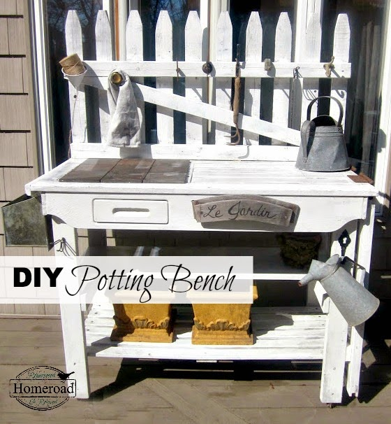 potting bench with overlay