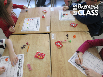 Fraction Action! We compared shoes, sorted candy, tossed coins, and designed our own pizzas to practice fractions in fun ways.