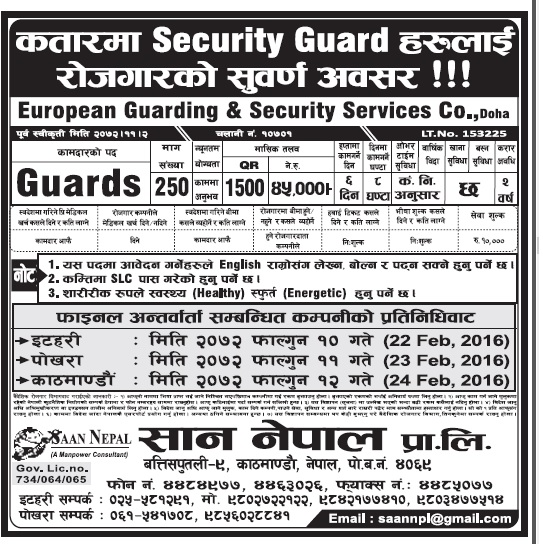 Jobs in Doha Qatar for Security Guards for Nepali Candidates, salary rs 45,000