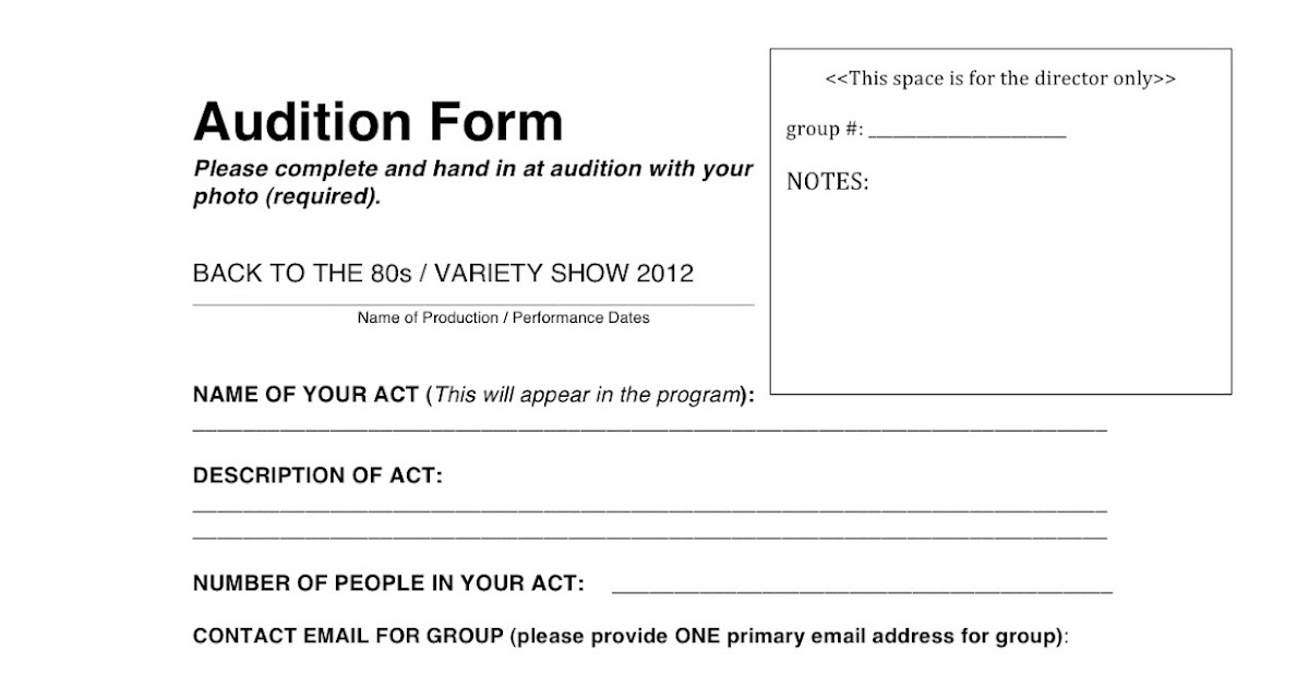 Wyoming Middle School Theater 2012 Variety Show Audition Form - audition form