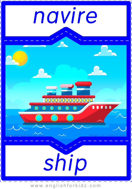 ship in French, navire en anglais, English-French transportation flashcards