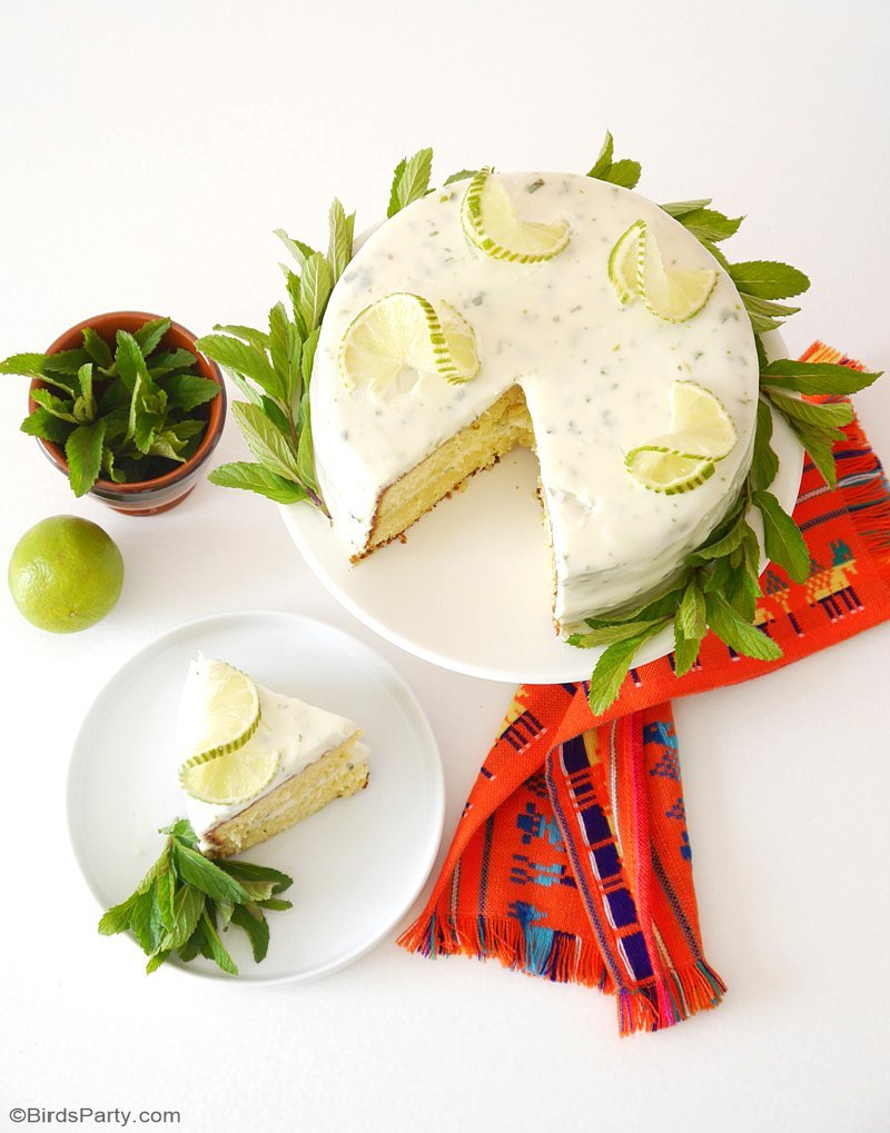 My Mojito Cake Recipe - learn to make a tasty Mojito flavored cake with cream cheese frosting for Cinco de Mayo or Mexican wedding or fiesta! by BirdsParty.com @BirdsParty