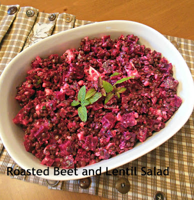 Roasted Beets and Lentil Salad with Mint Dijon Vinaigrette.