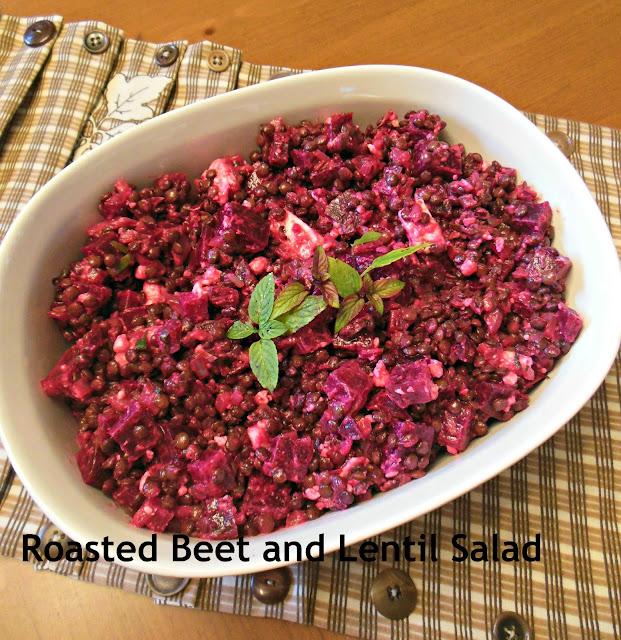 Roasted Beets and Lentil Salad with Mint Dijon Vinaigrette.