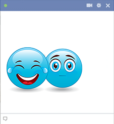 Two smileys one is laughing