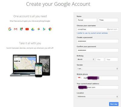 Form Akun Google untuk Membuat Blog