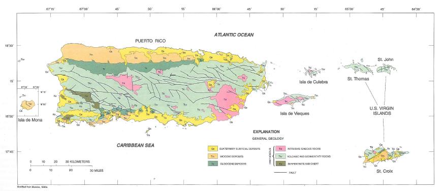 El Cordillera Rico Map Nacional Central Yunque La Puerto Parque El