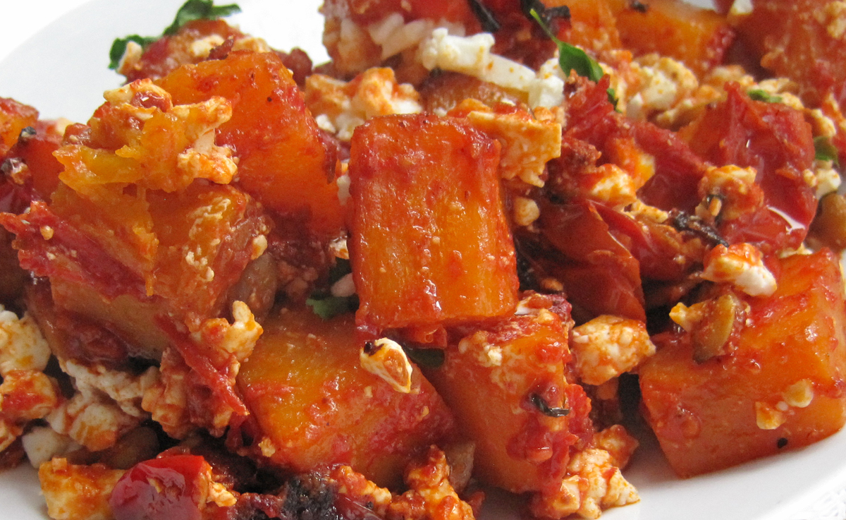 Moroccan Style Butternut with Spiced Tomatoes and Feta