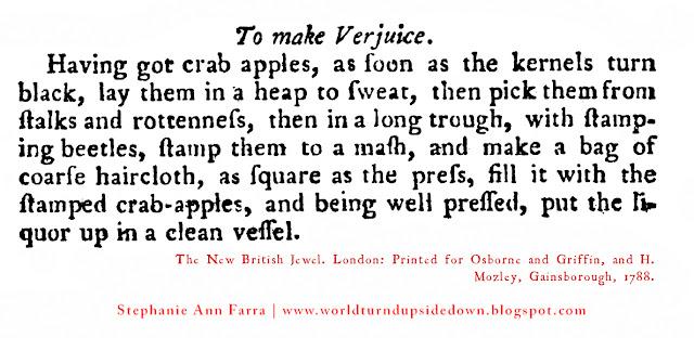 Colonial recipe Crab apple Verjuice reenacting
