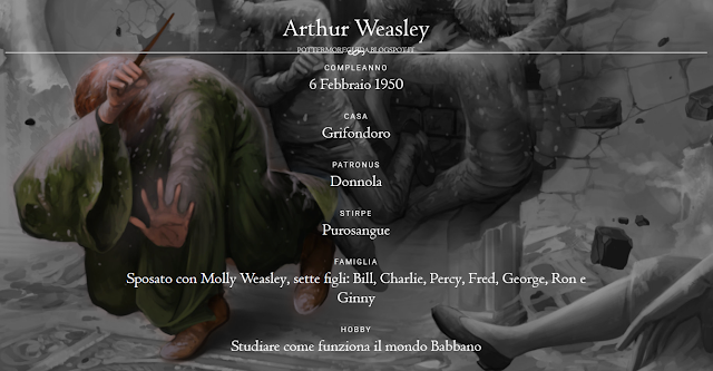 Scheda di Arthur Weasley