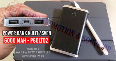 Power bank kulit ASVEN 6000 mAh Real Capacity - P60LT02, Powerbank Souvenir Kantor 6.000mAh P60LT02