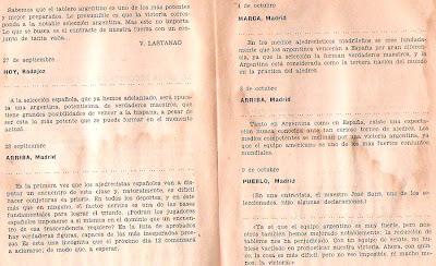 Comentarios en la prensa de 1946 sobre el match internacional de ajedrez Argentina-España