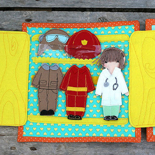 "Felt ""paper""doll with professions outfits quiet book page"