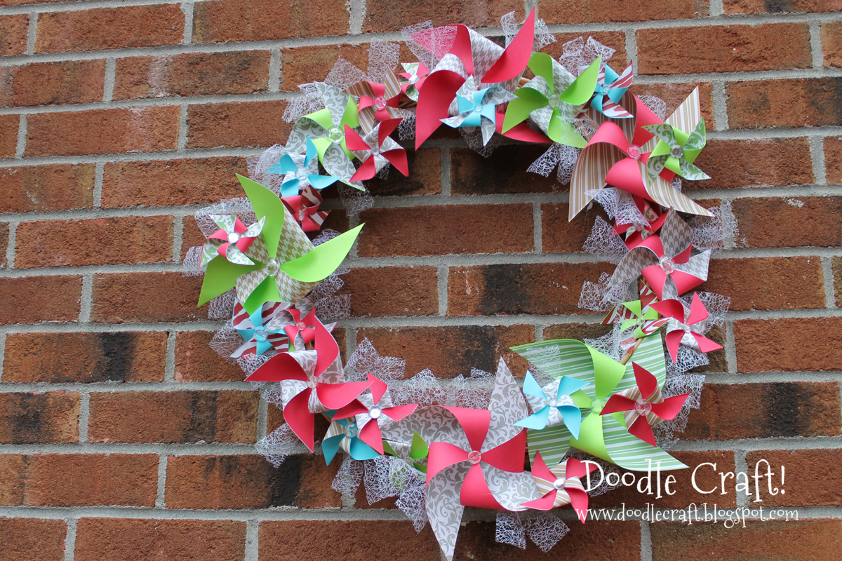 how to make paper pinwheels for a fun festive wreath