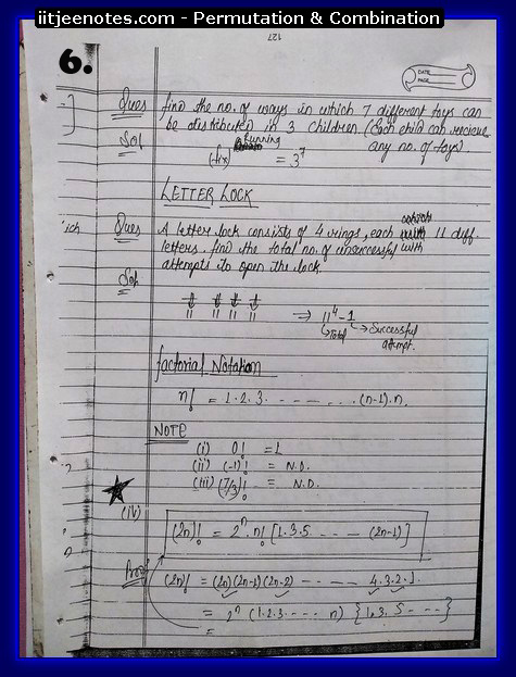 IITJEE Notes on Permutation & Combination6