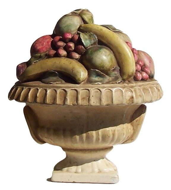 Victorian Chalkware Antique Urn & Fruit Original Polychrome Paint