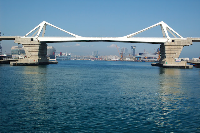 La Porta de Europa Bridge in Barcelona Harbor