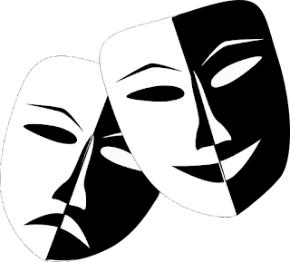 Masks that represent the theatre in black and white