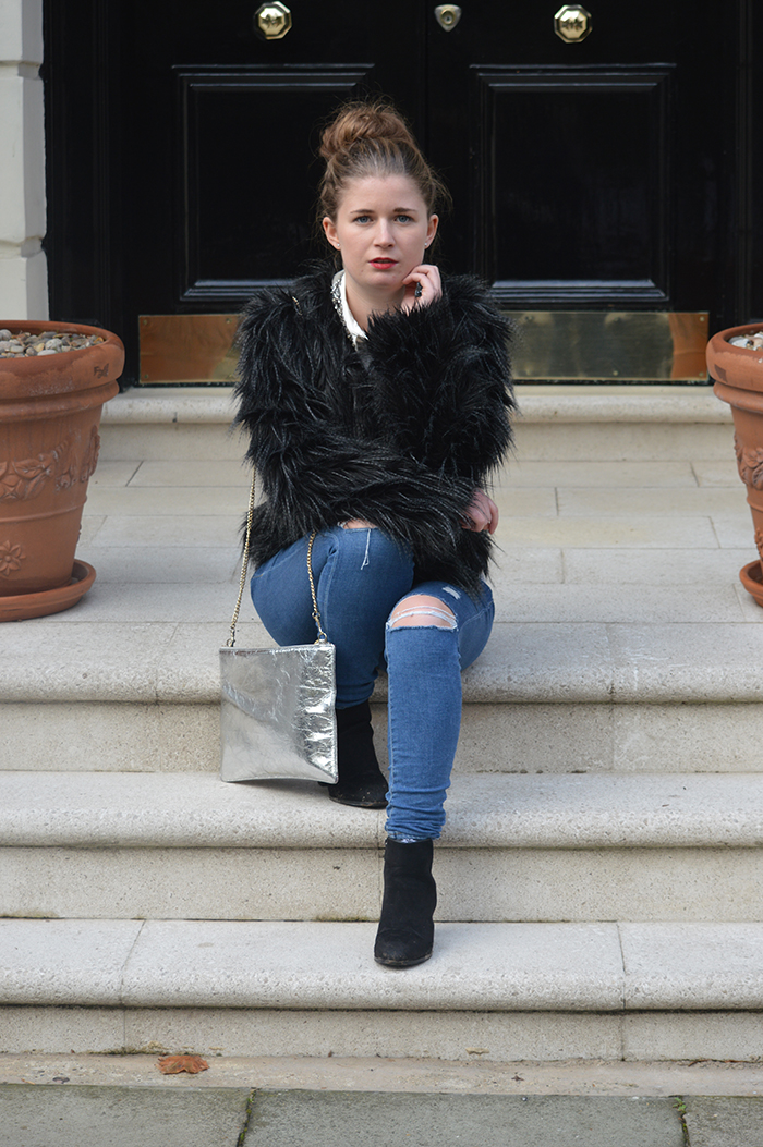 black fur coat fashion bloggers