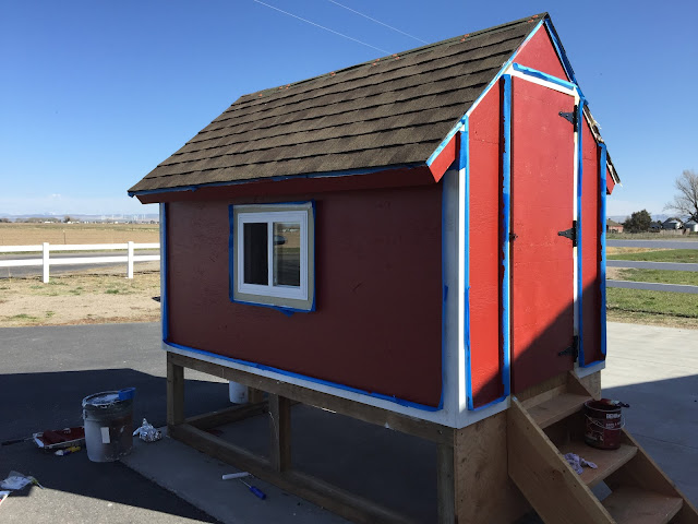 Painting the barn chicken coop