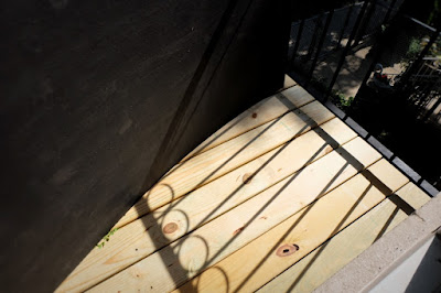 pressure treated wood balcony install