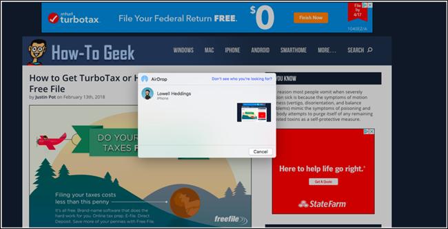 seleziona il dispositivo a cui vuoi inviare la pagina web