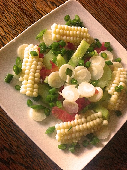 Corn off the cob, French green beans, Hearts of Palm and Heirloom Tomato Salad