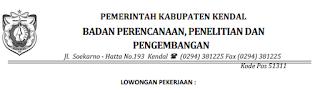 Lowongan Kerja Non PNS Badan Perencanaan, Penelitian dan Pengembangan (Baperlitbang) Kendal